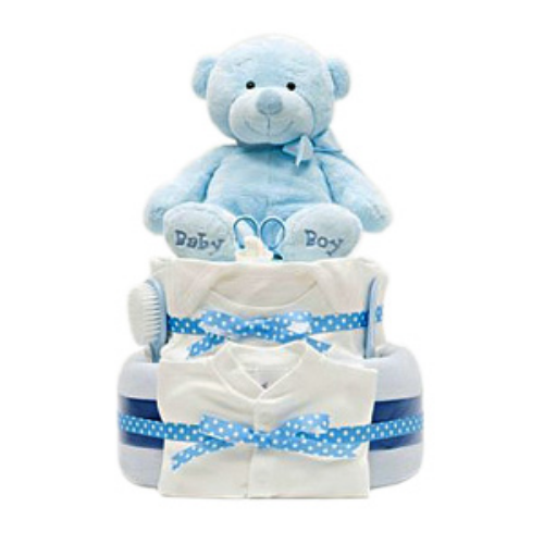 Baby Boy Gift Cake : Gf baby boy cake with gifts to