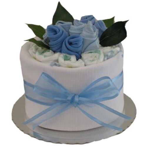 Gf08 single nappy cake with sock roses baby boy 6500 negle Gallery